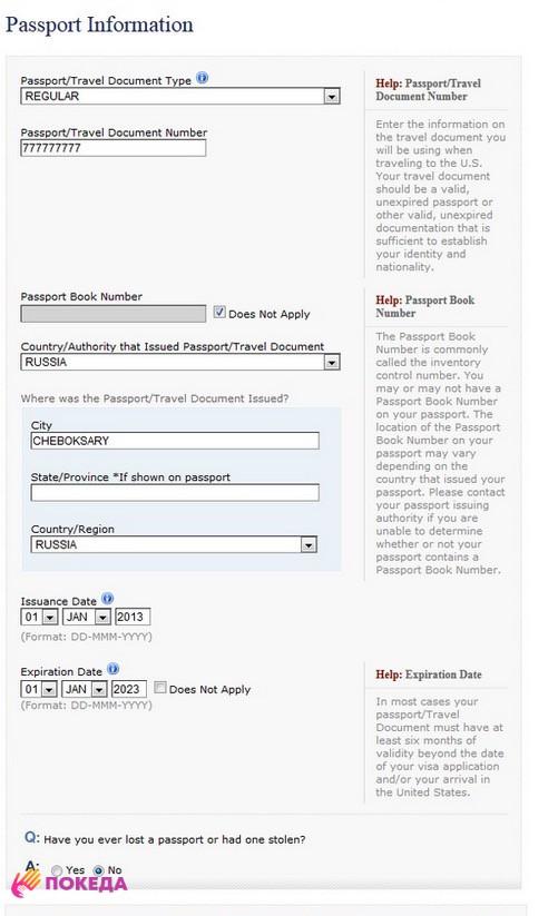 как вводить паспортные данные в анкете на визу США