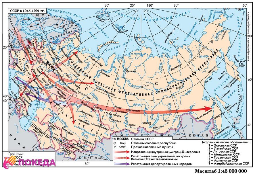карта миграции в СССР