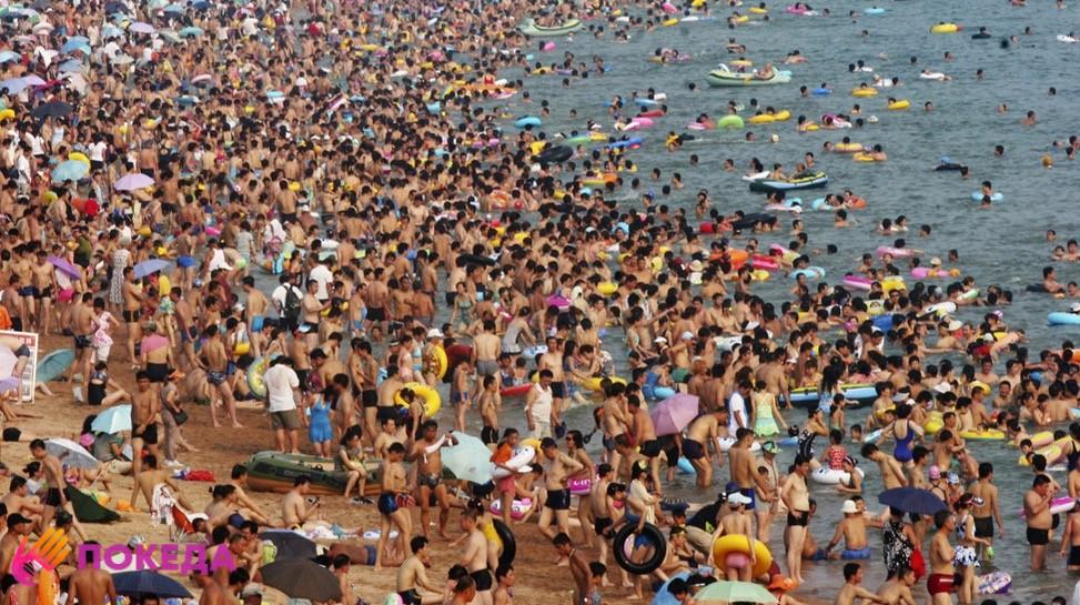 переполненные пляжи в Крыму