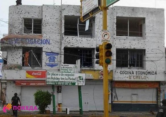 обстрелянное здание в мексике