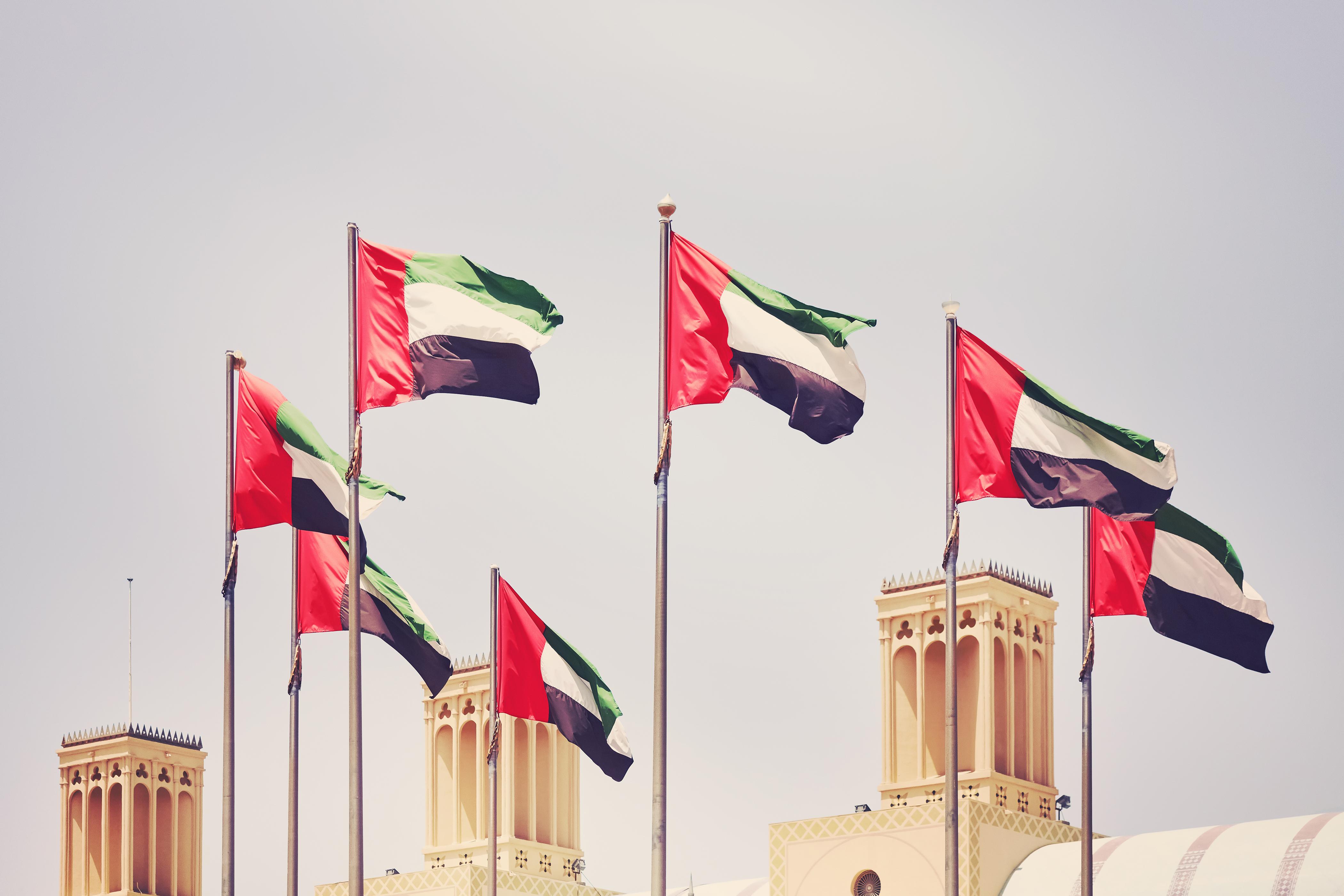 Флаги ОАЭ, где россияне могут получить ВНЖ