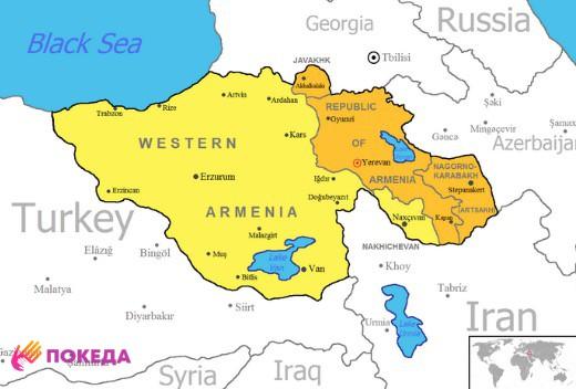 где расположена Армения на карте