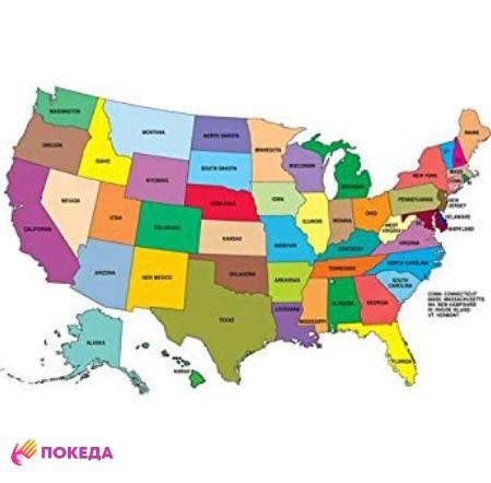 США карта цветная